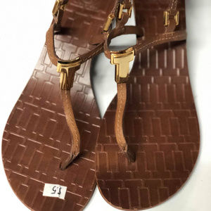 Tory Burch Brown Leather T-Strap Wedge Sandals 8.5